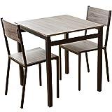 DORIS ダイニングテーブル 3点セット 幅70 テーブル&チェア 組立式 ブラウン スクエア