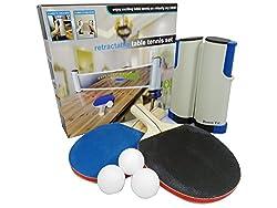 BTC ポータブル 卓球 セット ネット ( ラケット ×2本 伸縮ネット ボール ×3個) アウトドア レジャー 職場 で手軽にピンポン