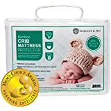Ultra Soft Waterproof Crib Mattress Protector Pad from Bamboo Rayon Fiber by Margaux & May - Fitted Quilted Mattress Protecto