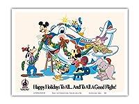 ミッキーマウスとディズニーキャラクター - すべてにハッピーホリデー - デルタ航空(ディズニーワールドの公式航空会社) - ビンテージな航空会社のポスター c.1960s - アートポスター - 23cm x 31cm