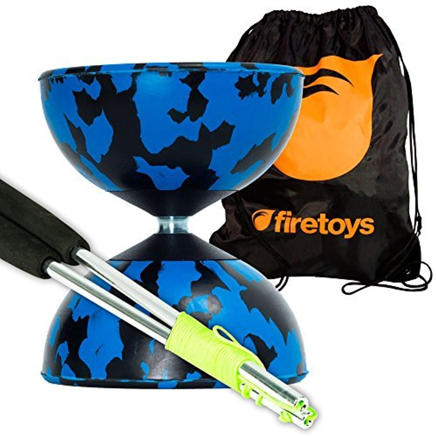 Harlequin Diabolos Set Metal Diabolo Sticks Diablo String & Bag (Blue & Black) [並行輸入品]