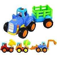 VIGOO 4個セット 自動車 プッシュアンドゴー 車 建設車両 玩具 ダンプトラック セメントミキサー ブルドーザー トラクター バックカートゥーンプレイ 1 2 3歳 男の子 幼児 キッズギフト