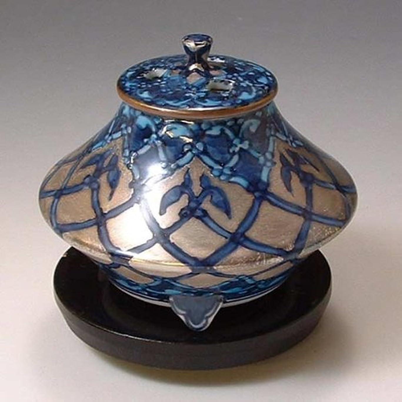 確かめるゴミ箱ブリッジ京焼 清水焼 香炉(黒台付) 銀モスク ぎんもすく YKY110