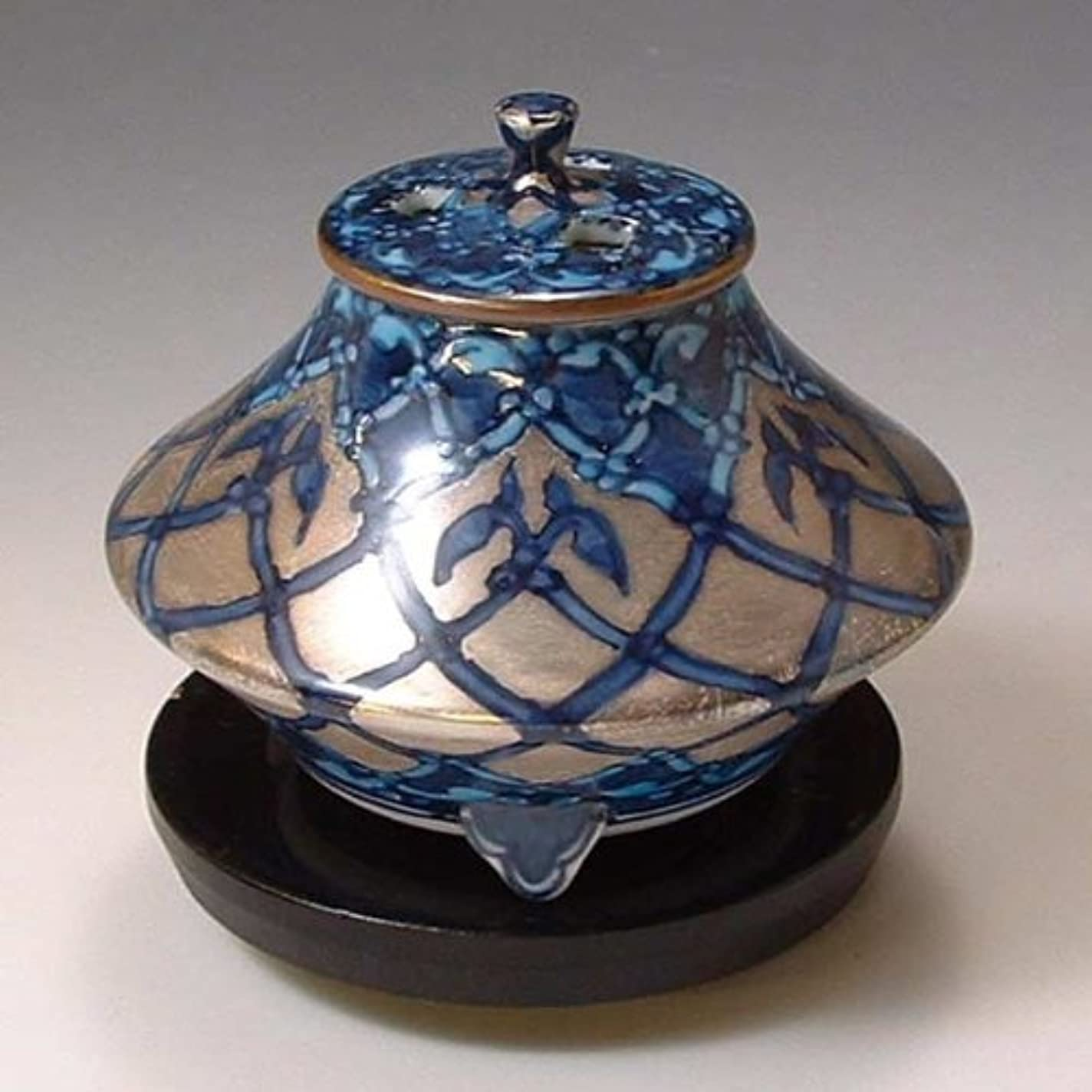 上下するオーバーフローアヒル京焼 清水焼 香炉(黒台付) 銀モスク ぎんもすく YKY110