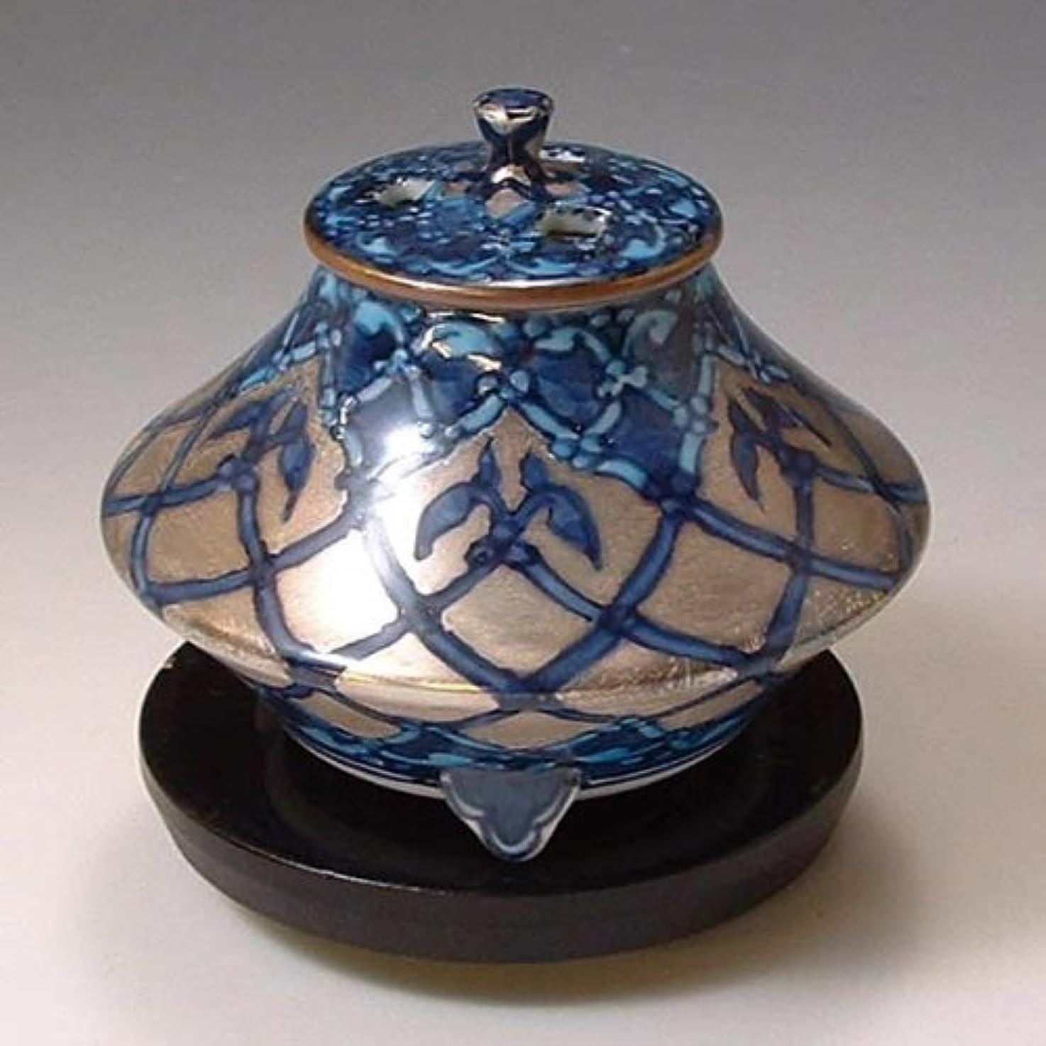 発信口頭骨折京焼 清水焼 香炉(黒台付) 銀モスク ぎんもすく YKY110