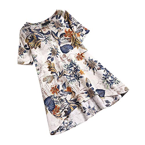 Dress for Women Plus Size Sexy Clearance Sale,Dress Pants for Women Plus Size,Womens O-Neck Casual Floral Printed Short Sleeve Irregularity Vintage Dress Yellow