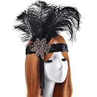 LONGBLE 1920s Vintage Flapper Headband Big Black Feather Sequins and Beaded Headpiece For 20s Great Gatsby Hair Accessory (Black 2)
