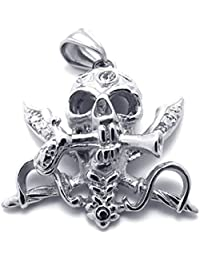 [テメゴ ジュエリー]TEMEGO Jewelry メンズステンレススチールヴィンテージペンダントゴシックスカルネックレス、ブラックシルバー[インポート]
