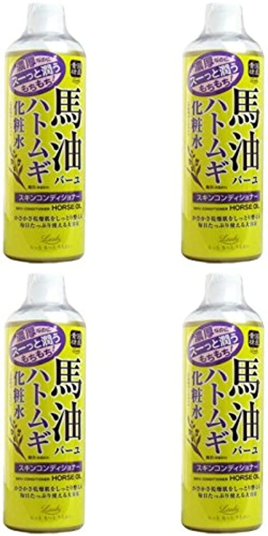 【まとめ買い】ロッシモイストエイド スキンコンディショナー 馬油&ハトムギ 500ml (化粧水 ローション 高保湿)【×4個】