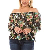 Bubble B Women's Junior Plus Size Off Shoulder Floral Print Sheer Chiffon Top