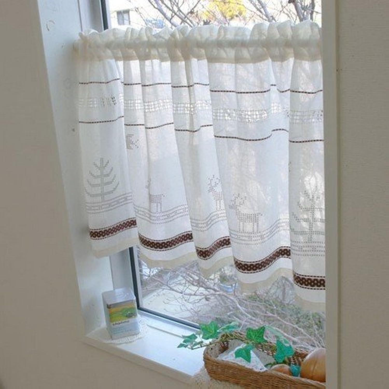 カフェカーテン インド綿ディアー BE 110x70cm 幅110×高70cm