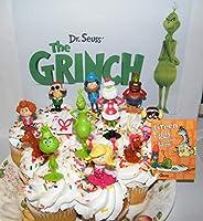 グリンチ 映画 デラックスケーキトッパー カップケーキデコレーション 14個セット 12個のフィギュア クラシックで新しいキャラクターと特別なノートと消しゴムギフトセット