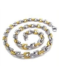 [テメゴ ジュエリー]TEMEGO Jewelry メンズステンレススチールポリッシュネックレスリンクチェーンネックレス、24インチ、ゴールデンシルバー[インポート]