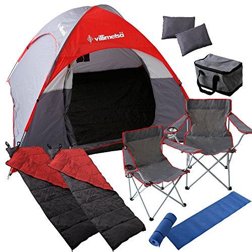 Villimetsa 【10点セット】 テント 折り畳みチェア 寝袋 クッションマット 枕 保冷バック 4?5人用