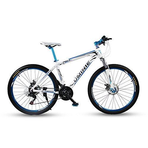 Umini ブルー アルミニウム合金 自転車 シマノ 21 段変速 26インチ マウンテンバイク MTB フロントサスペンション シマノ21段変速 前後機械式ディスクブレーキ ライト (ブルー)