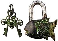"Gardenロック機能的真鍮美しい魚Padlock 3.5"" with 2つキーin Rust Look but新しいアイテム"