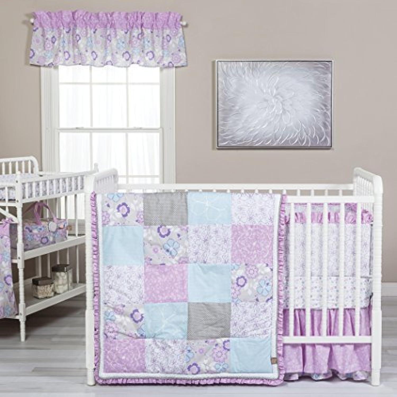 Trend Lab Grace 5 Piece Crib Bedding Set Purple Blue Gray and White [並行輸入品]