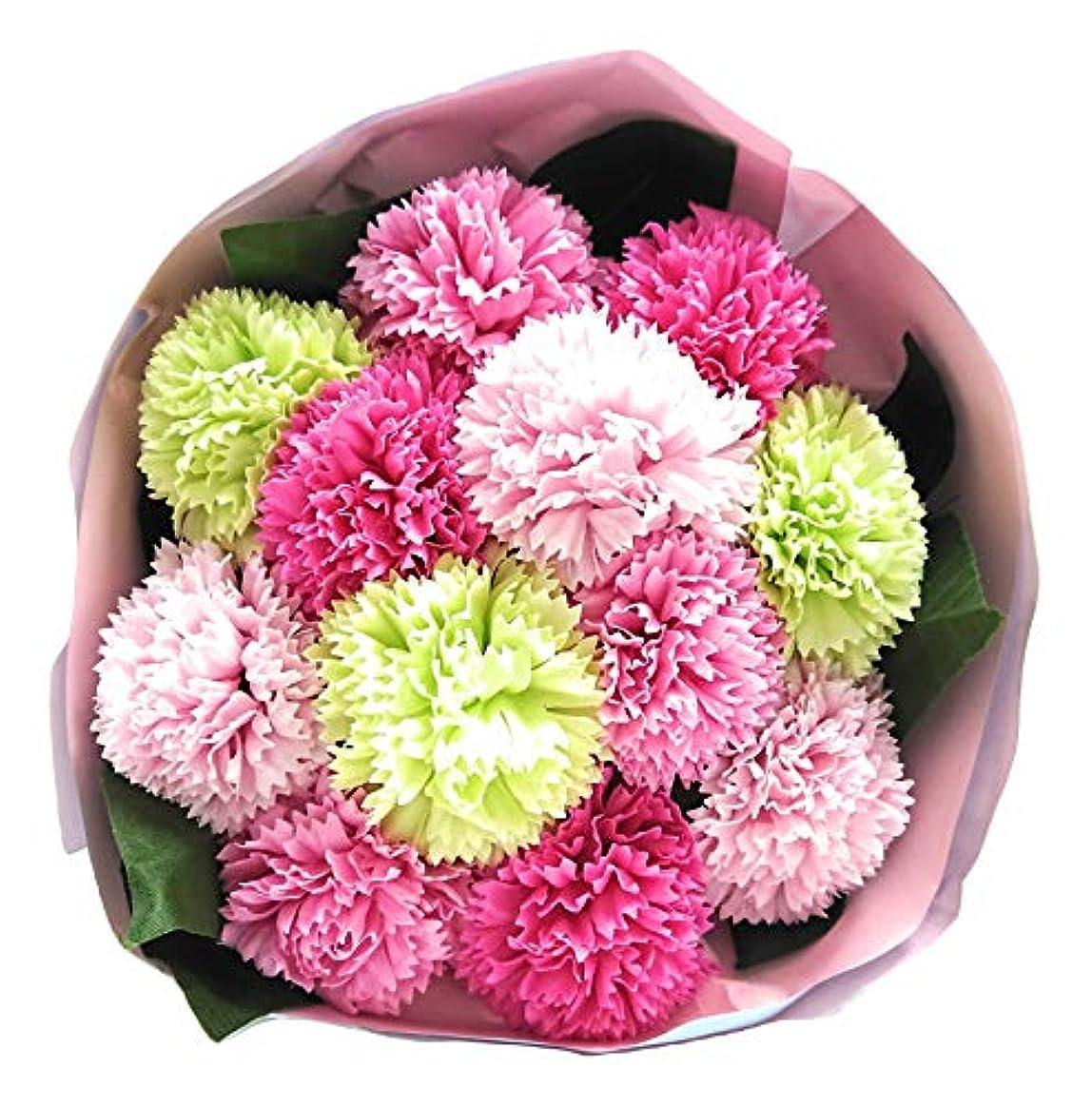 カストディアン開いた順応性バスフレグランス バスフラワー カーネーションブーケ 母の日 ギフト お花の形の入浴剤 (PINK MIX)