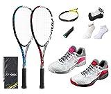 ヨネックス ソフトテニス ラケット シューズ グリップテープ エッジガード ソックス 新入生 新入部員 初心者向け 5点セット (062ホワイト×ピンク 24.0, 002ブルー)