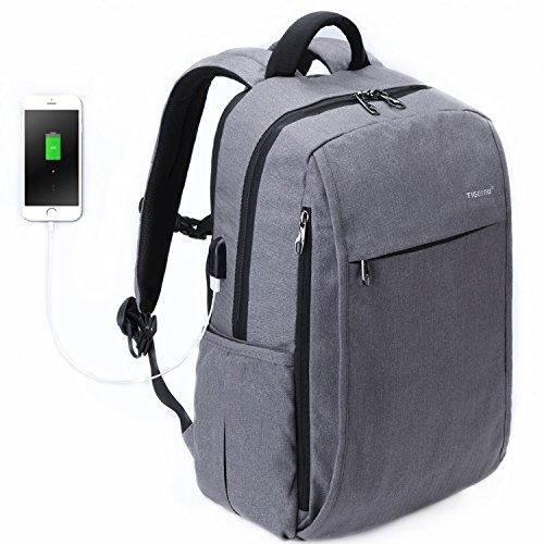 Hopaba ビジネスバックパック 大容量 メンズ USBケーブル付き リュックサック PC 15.6インチ 通勤 軽量 グレー