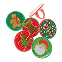 Lot Of 48 Christmas Sticker Plastic Adjustable Child Size Rings - 1 [Floral] [並行輸入品]