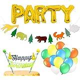 誕生日 パーティー 飾り ハーフバースデー ジェル風船、ケーキトッパー、ガーランド、アルミバルーン 1歳 2歳 3歳 [BIRTHDAY DECO] (アニマル)