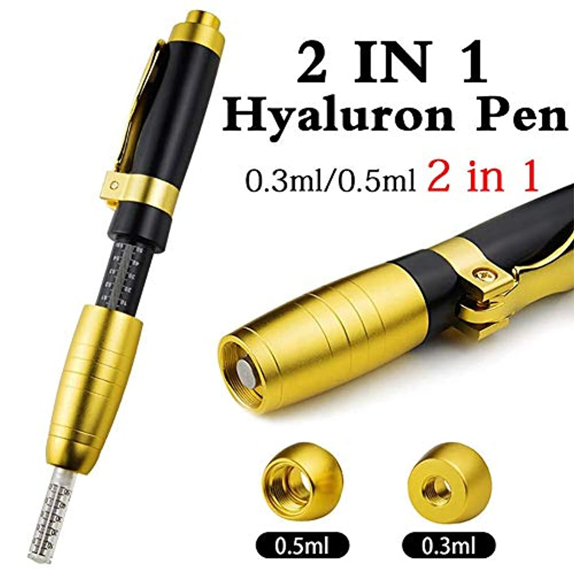 反抗寝具懇願する2 in 1 2ヘッドヒアルロンペン0.3ml&0.5mlヒアルロン注射ペンヒアルロン酸注射器リップフィラー針無料注射ペン