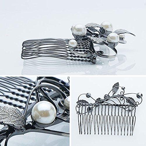 花しおり 日本製 簪 櫛 髪飾り ラインストーン 銀 シルバー パール 5810-2
