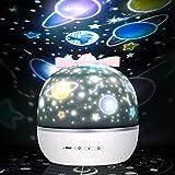 「令和元年最新版」スタープロジェクターライト 星空ライト ベッドサイドランプ 寝かしつけ用おもちゃ 常夜灯 スターナイトライト 音楽再生機能 6種類投影映画フィルム 多彩変更 360度回転 USB充電 お子さん 彼女にプレゼント 誕生日ギフト (ホワイト)