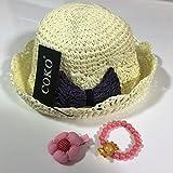 COKO4色 超可愛い麦わら帽子 リボン飾り女の子用 日よけ/日除け/紫外線対策 UVカット 柔らかく折り畳めます (アイボリー&パープルリボン)