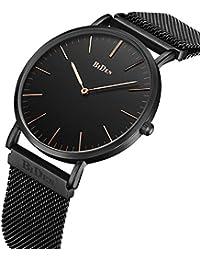 腕時計 メンズ 超薄型 ファッション カジュアル ビジネス 防水時計 (ブラック)