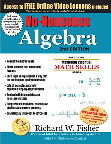 Download No-Nonsense Algebra, 2nd Edition: Part of the Mastering Essential Math Skills Series 099944333X
