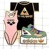 adidas 水着 限定 レア ピンバッジ アディダス靴アリーナ水着ルコック服 ピンズ フランス