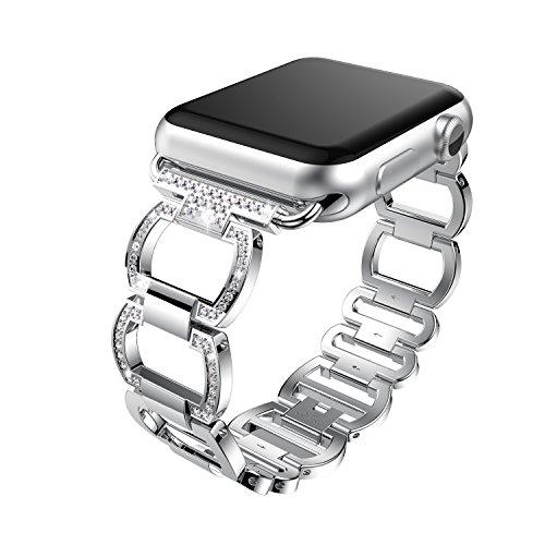 2018新しいapple watch クォーツバンド ファッションapple watch水晶バンド Apple watch series1 series 2 Band (38mm, シルバー)
