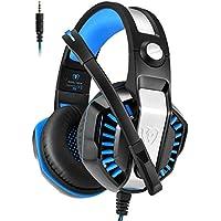 Micolindun GM-20 ゲーミングヘッドセット PS4 ヘッドセット ヘッドホン マイク付き プレステ4 ゲーム用 ゲーミング PC ヘッドフォン イヤホン LED Skype スカイプ 密閉型 スイッチ fps COD モンハン 対応 (ブルー)