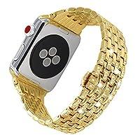 Apple WatchバンドiWatchバンドApple Watch用ダイヤモンドバンドラグジュアリークリスタルステンレススチールストラップ輝くブレスレット42 mm/38mm (38mm, ゴールド)