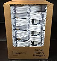 Lot 100 Mainstays Plastic Tubular Slotted White Adult Clothing Clothes Hangers by Mainstays