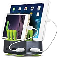Aduro GRASS HUB Universal 4 Port 6.8A USB Charging Station Stand Dock for all Tablets Smartphone and USB Devices (Black) [並行輸入品]