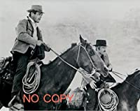 大きな写真「明日に向って撃て」モノクロ、騎乗の二人
