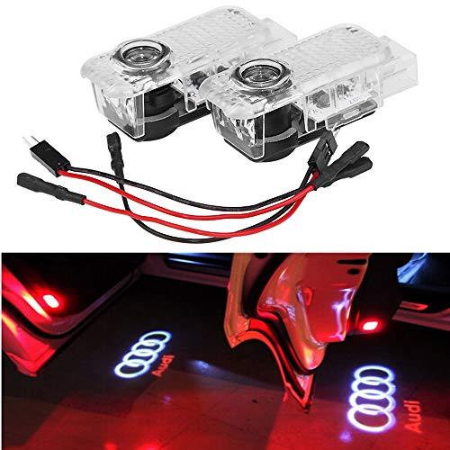 HAOHAOYUN AUDI カーテシ LED レーザーロゴライト、高画質して、映像がとてもはっきりするようになっています 2個セットドア高輝度のLEDチップ アウディ Audi ロゴ カーテシランプ カーテシライト ゴーストシャドーライト (AUDI LEFT LOGO)