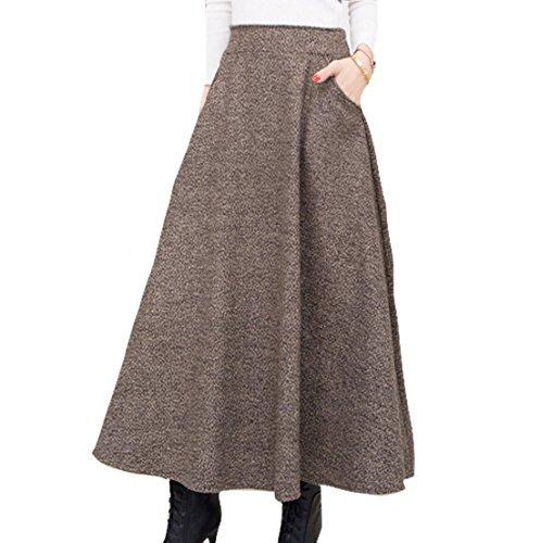 ELPIS レディース ウール スカート Aライン フレアー ロング 上品 フェミニン 2色 S M L XL XXL (ブラウン,S)