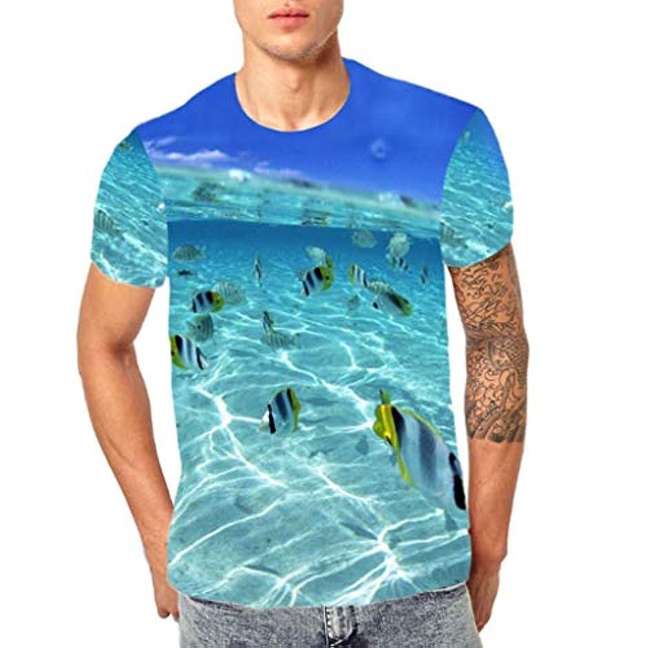 慣れる忌まわしいシンカンWyntroy シャツ メンズ 半袖 丸首 Tシャツ カラフル 海の風景 3Dプリント ゆったり カットソー ロングスリーブ スポーツ人気 快適 薄い おしゃれ ストリート カジュアル スウェット ファッション春夏秋 M~3XL