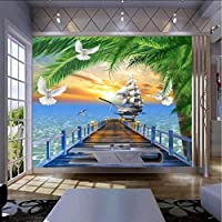Lixiaoer 壁紙ウッド地中海風景3Dトロピカル壁紙ベッドルーム壁画3Dホームインプルーブメント-280X200Cm