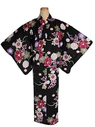 二部式浴衣 変わり織 高級 セパレート 浴衣 黒地に桜 NKY-4