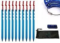 ペグ【Blue Ocean】Y字型ペグ/コードスライダー×各10個セット(ブルー)ジュラルミン 小型 軽量 丈夫 収納ケース・ライト付き【正規品】自在金具