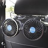 PORAXY 車載ファン 4インチ 熱対策 車載扇風機 角度調整可能 風量調節可能 ツーファン付き 汎用タイプ 夏対策 DC12V車用 日本語マニュアル付き 一年保証付き