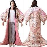 エムール あったか かいまき布団 約135×185cm 日本製 花柄ピンク