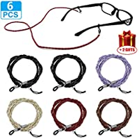 Eyeglass Holder Strap, Leather Safety Glasses Chain, Eyewear Retainer Sunglass Lanyard Cords for Women Men Kids Pack of 6