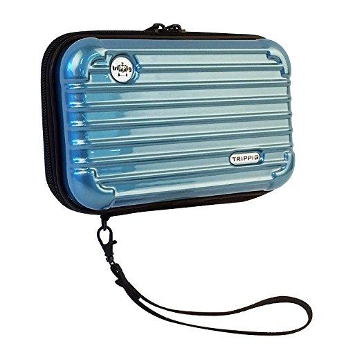 (トリップピッグ) TRIPPIG スマホ 通帳 ケース ポーチ/スーツケース 型 旅行 バッグ ミニ キャリーバッグ 全6色 (メタルブルー)