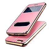 【E-HOME】 iPhone6 Plus iPhone6s Plus 手帳型ケース 窓付き スタンド付き ガラスフィルム付き 金属感 TPUカバー アイフォン6s プラス/ アイフォン6 プラス 手帳型 耐衝撃 カバー (iPhone6 Plus/6s Plus,ピンク)